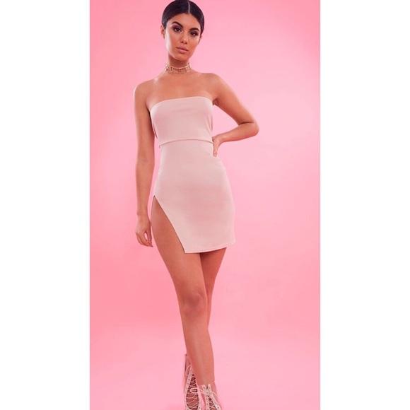 Prettylittlething Dresses Prettylittlething Bodycon Side Slit Dress Poshmark